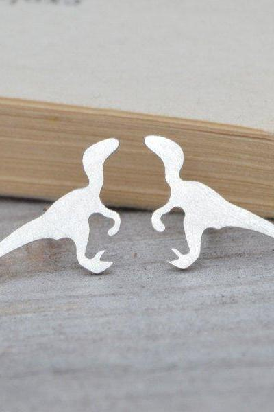 Velociraptor Earring Studs, Dinosaur Earring Studs In Sterling Silver, Handmade In The UK