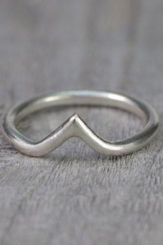 Contour Wedding Ring, Chevron Wedding Band, V Shape Stacking Ring Handmade In The UK