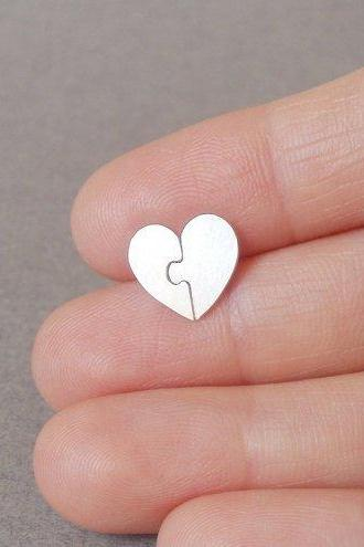 Jigsaw Puzzle Sweet Heart Earring Studs In Sterling Silver, Heart Shape Earring Studs Handmade In UK