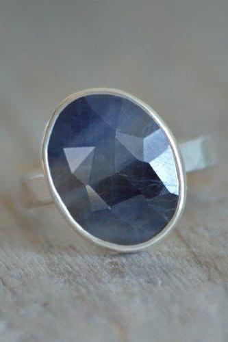 Rose Cut Oval Sapphire Ring, 4.4ct Oval Sapphire Statement Ring, September Birthstone Ring, Wedding Gift, Something Blue Gift