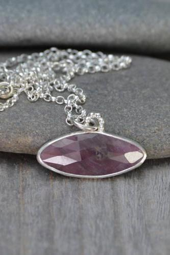 Rose Cut Ruby Necklace, 5.4ct Ruby Necklace, July Birthstone, Large Ruby Necklace Handmade In The UK
