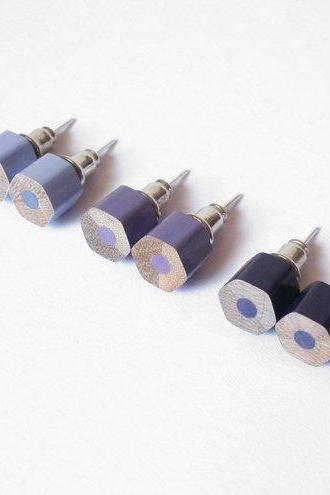 Color Pencil Earing Studs, The Hexagon Version In Purple, Pencil Jewelry Handmade In England By Huiyi Tan