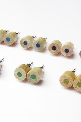 Wooden Color Pencil Ear Studs In Green, Blue And Black, Wooden Pencil Jewelry Handmade In The UK