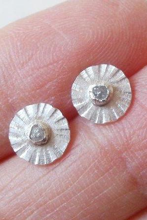 Rough Diamond Earring Studs, Daisy Earring Studs In Sterling Silver And Fine Silver, Made In England