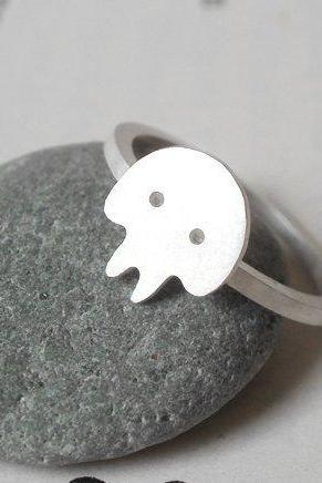 Skull Ring In Sterling Silver, Handmade In UK