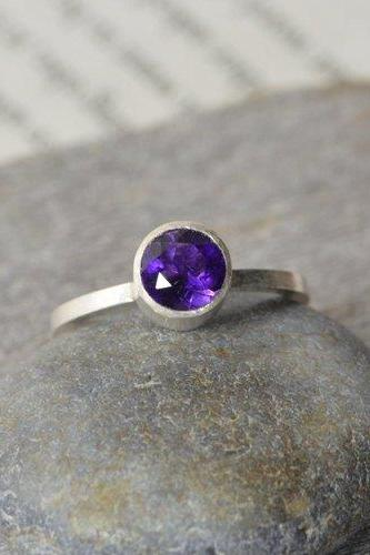 Amethyst Stacking Ring Set In Sterling Silver, Amethyst Solitaire Ring, Handmade In England