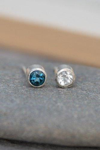 London Blue Topaz Earring Studs, Clear Topaz Earring Studs, November Birthstone Studs, Set In Sterling Silver