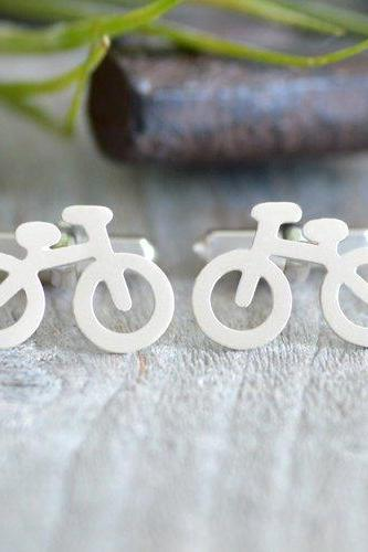 Bicycle Cufflinks In Sterling Silver With Personalized Message On The Backs, Handmade In The UK