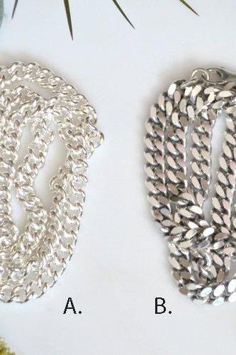 Sterling Silver Chain For Man, Silver Necklace For Man, Curb Chain For Man, Thick Chain For Man, Thick Necklace For Man
