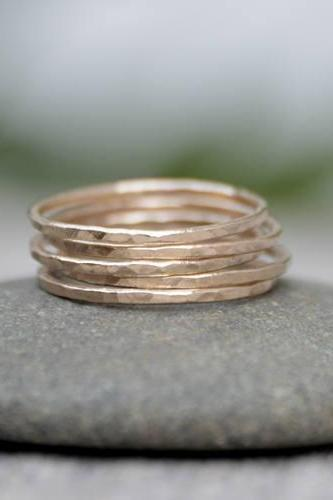Slim Stacking Rings in 14K Yellow Gold, Rustic Stackers, Hammered Stacking Rings, Handmade Stacking Ring Set, Made To Order