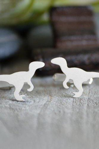 Velociraptor Cufflinks In Solid Sterling Silver, Personalized Cufflinks For Him, Wedding Cufflinks, With Personlized Message