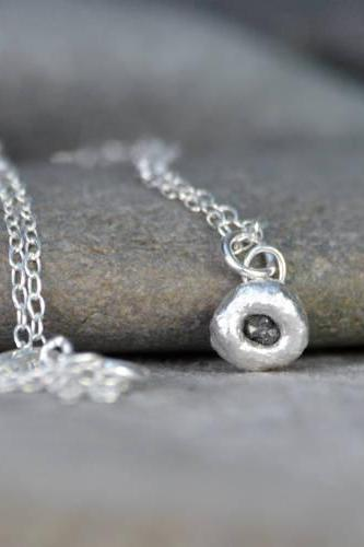 Small Raw Diamond Necklace In Dark Grey, Rough Diamond Necklace, Black Diamond Necklace, April Birthstone Necklace