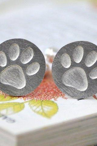 Pawprint Cufflinks In Sterling Silver, With Personalized Message On The Back, Handmade In The UK