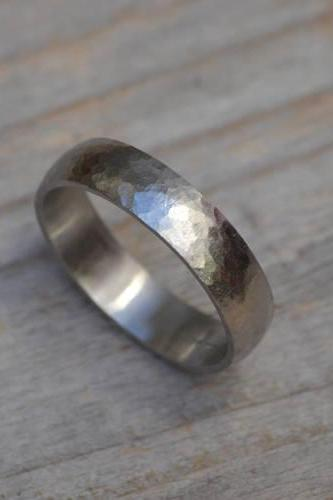 Platinum Wedding Band With Hammer Effect, Platinum Wedding Ring, 5mm Wide , 6mm wide or 8mm Wide, Rustic Wedding Band, Made To Order