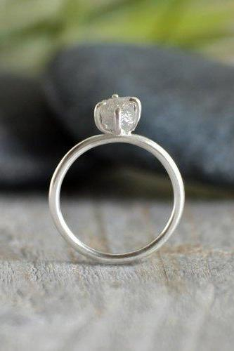 Raw Diamond Engagement Ring, 0.92ct Light Grey Diamond Ring, Diamond Cube Engagement Ring, Handmade In England