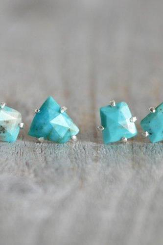 Rose Cut Turquoise Stud Earrings, December Birthstone Studs