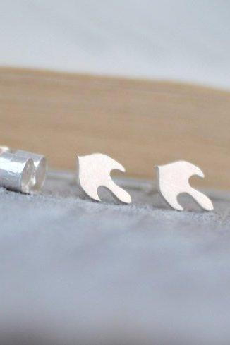Abstract Ear Studs, Abstract Fire Earring Studs In Sterling Silver, Handmade In England