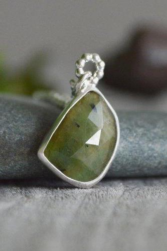 Emerald Necklace In Apple Green, 4ct Emerald Necklace, May Birthstone, Large Emerald Necklace Handmade In The UK