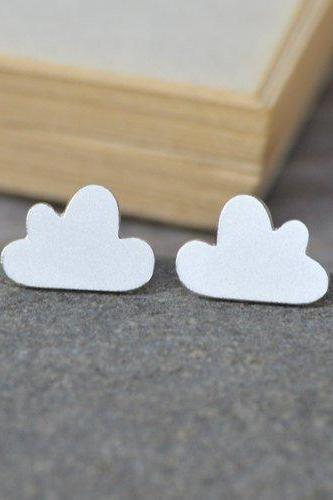 Fluffy Cloud Earring Studs, Fluffy Cloud In Sterling Silver (Size Small), Handmade In England