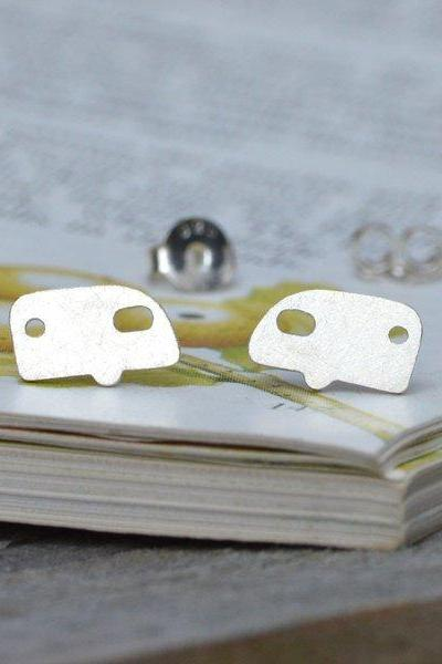 Holiday Caravan Earring Studs In Sterling Silver, British Summer Holiday Earring Studs Handmade In Cornwall, UK