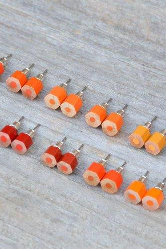 Colour Pencil Earring Studs, The Hexagon Version In Orange, Handmade In England By Huiyi Tan