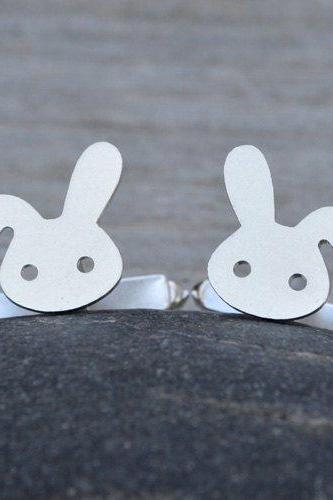 Bunny Rabbit Cufflinks In Sterling Silver, Personalized Message Cufflinks Handmade In The UK
