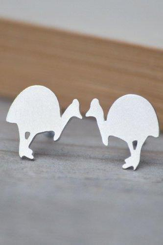 Southern Cassowary Earring Studs in Sterling Silver