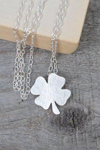 4 Leaves Lucky Shamrock Necklace In Sterling Silver, Lucky Clover Necklace Handmade In England