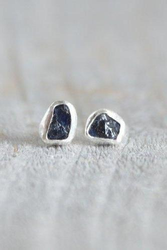 Raw Sapphire Stud Earrings In Midnight Blue, Rough Sapphire Ear Studs, Sapphire Wedding Gift, September Birthstone, Handmade In England