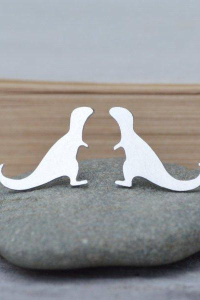 T-Rex Earring Studs In Sterling Silver, Dinosaur Earring Studs, Handmade In The UK