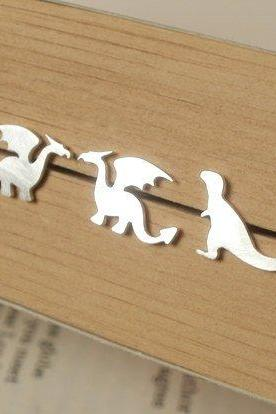 The Whole Set Of The Dragon, T-Rex And Brontosaurus Earring Studs, Set Of 3 Pairs In Sterling Silver, Handmade In England