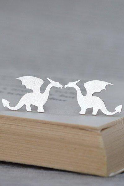 Dragon Earring Studs In Sterling Silver, Original Dragon Earring Studs, Handmade In The UK By Huiyi Tan
