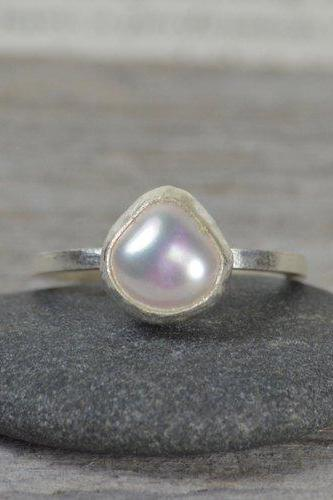 Large Freshwater Pearl Ring Set In Sterling Silver, Pearl Engagement Ring, June Birthstone, Bridal Ring Handmade In England