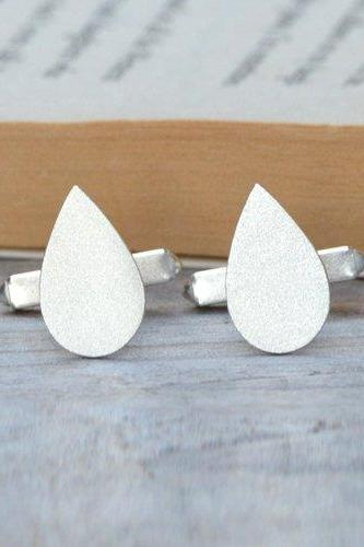 Raindrop Cufflinks In Solid Sterling Silver, With Personalized Message On The Back, Handmade In The UK