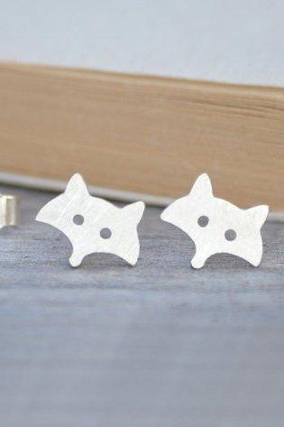 Fox Earring Studs In Sterling Silver, Foxy Earring Studs Handmade In The UK By Huiyi Tan