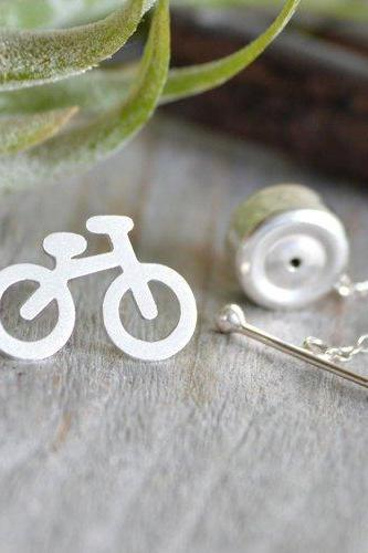 Bicycle Tie Tack In Sterling Silver With Personalized Message On The Back, Handmade In The UK