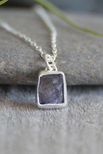 Raw Iolite Necklace In Lavender, Rough Iolite Necklace, Purple Gift, August Birthstone