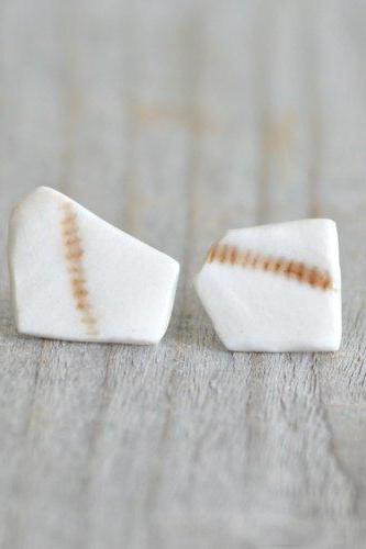 Pentagon Porcelain Stud Earrings In Ivory And Brown, One Of A Kind Stud Earrings, Handmade In The UK