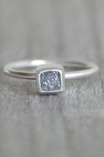 Raw Diamond Cube Engagement Ring, 1.1ct Raw Diamond Ring In Grey, Handmade In England