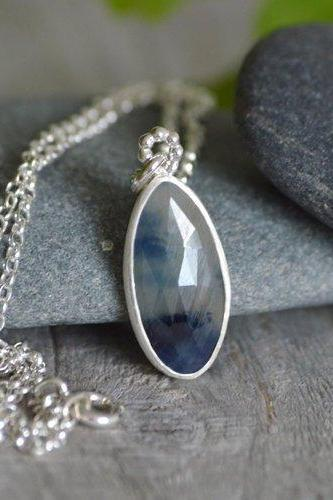 Rose Cut Sapphire Necklace Set In Sterling Silver, Blue Sapphire Necklace, Blue Wedding Gift, 5.85ct Sapphire