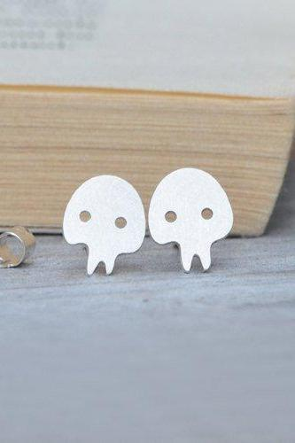 Skull Earring Studs In Sterling Silver, Handmade Skull From England