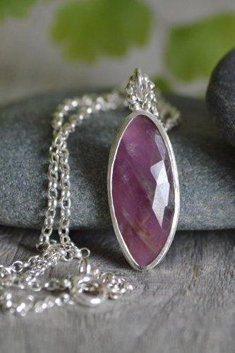 Rose Cut Ruby Necklace, 6.15ct Ruby Necklace, July Birthstone, Large Ruby Necklace Handmade In The UK