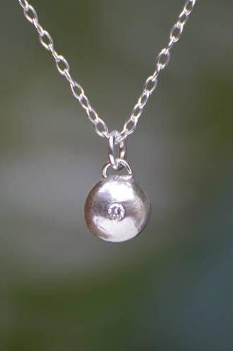 Diamond And Silver Pebble Necklace, Diamond Gift For Her, April Birthstone Necklace, Bridal Necklace