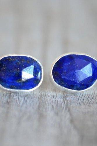 lapis lazuli Stud Earrings, Blue Earring Studs, Wedding Gift, Handmade In England