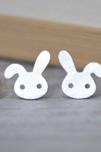 Bunny Rabbit Earring Studs With Floppy Ear, Cute British Rabbit Earring Studs Handmade In Beautiful Cornwall
