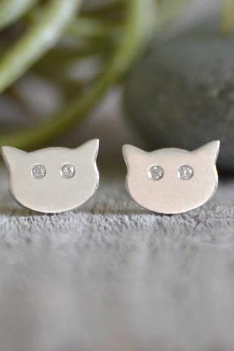 Cat Earring Stud With Diamond Eyes, Kitten Stud Earrings With Diamond Eyes, Handmade in the UK