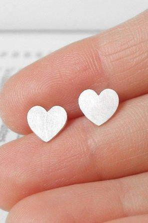 Sweet Heart Earring Studs In Sterling Silver, Heart Shape Earring Studs Handmade In UK