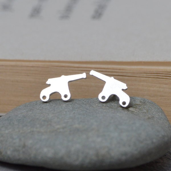 Cannon Earring Studs In Sterling Silver, Handmade Cannon Earring Studs, Handmade In England