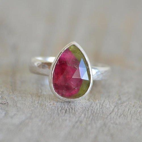 Watermelon Tourmaline Engagement Ring, October Birthstone, Pear Shape Tourmaline Ring, Pear Shape Tourmaline Ring