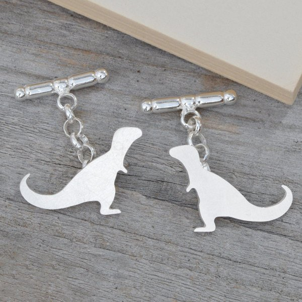 T-Rex Dinosaur Cufflinks In Sterling Silver, With Personalized Message On The Backs, Handmade In The UK